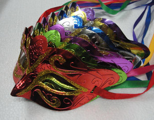 Wholesale gold Powder Painted Mask Halloween Masquerade Masks Mardi Gras Venetian Dance Party Face The Mask Mixed Color