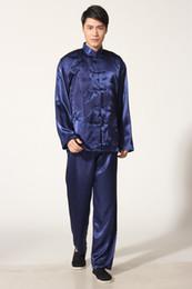 Frete Grátis Tai chi estilo chinês top manga comprida tang conjunto terno roupas tradicionais chinesas Kung fu camisa + calças cor azul M0011 de