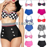 Wholesale Women s Swimwear Swimsuit Bikini Sets Bathing Suit Dots Twist Bandeau Halter Top Padded Cups High Waist Bottom Beachwear