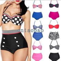 Wholesale Bandeau Swimsuit Swimwear Bikini - Women's Swimwear Swimsuit Bikini Sets Bathing Suit Dots Twist Bandeau Halter Top Padded Cups High Waist Bottom Beachwear