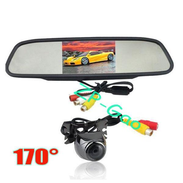 "4.3"" TFT LCD Car Rear View Mirror Monitor + Metal Waterproof Car Reverse Camera 170° Free Shipping"
