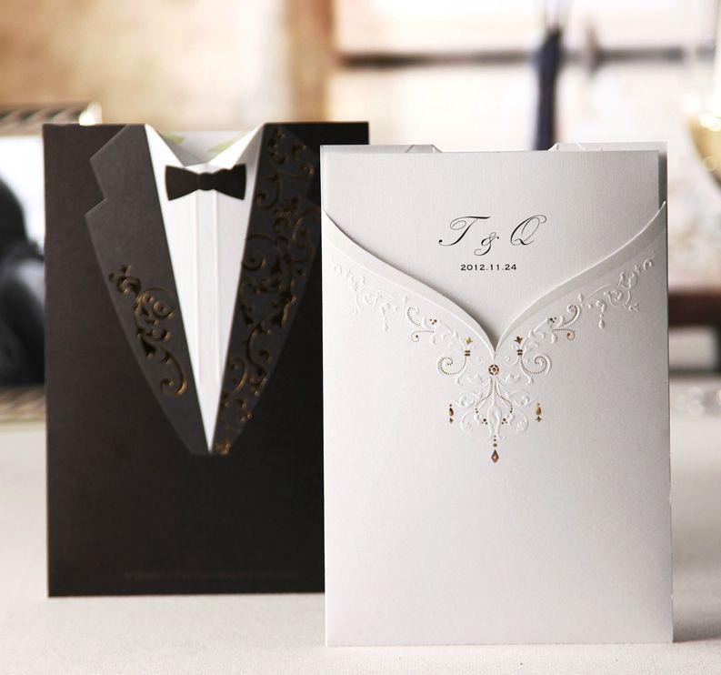 white wedding invites