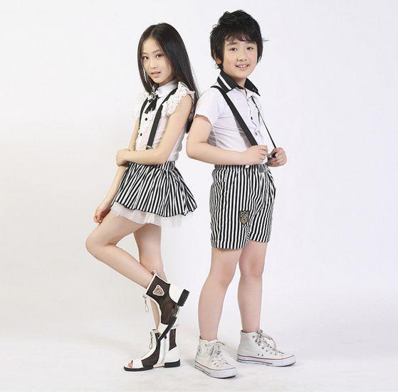 eb14408d5b2 2019 Hot Sale New Summer Korean Style Child School Uniform Boys Girls  Lovely Sleeveless T Shirt + Cute Striped Pants/Dresses + Free Tie Kids Suit  From ...