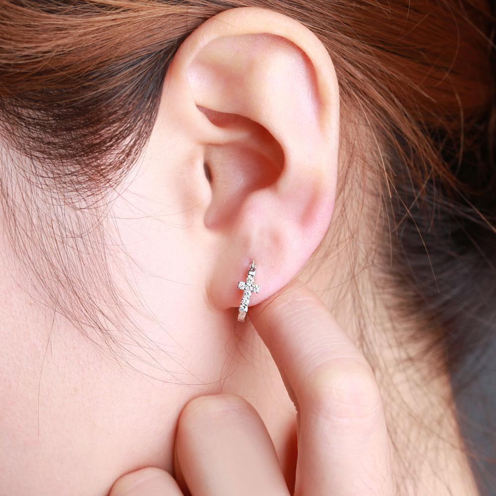 2018 Gvbori Natural 0.2ct Diamond Cross Hoop Earrings Jewelry Cut ...