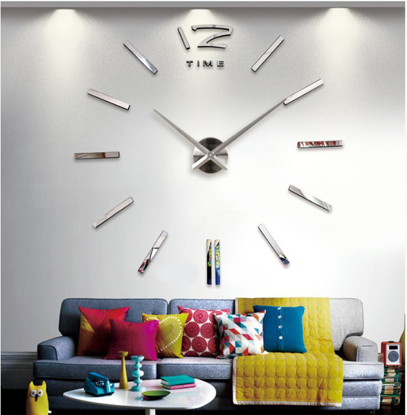 best selling New 130 cm*130 cm(50*50 Inch) Metal 3D Wall Clock Sticker For Home Decor Living Decoration Creative Gift( Silver Black)