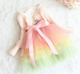 Wholesale Full Corsages - 2017 Spring Korean Style Children Long Sleeves Princess Dressy Girls Layered Veil Dresses Kids Rose Corsage Lace String Colorful Dress I0431