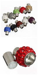 Wholesale 6mm Leather Cord - 30pcs Stainless Steel tone Assorted Color Crystal Rhinestone Barrel Magnetic Clasps hole 6mm For Leather Cords Bracelet Jewelry