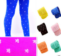 Wholesale Kids Under Pants - Spring & Summer Children Girls Cute Bowknot Printed Thin Dance Socks Baby Girl Colorful Velvet Leggings Under Pants Kids Child Socks I0432