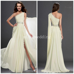 Wholesale Long Cream Prom Dresses - 2014 Ice Cream One shoulder A line Lace look Slit high side Beads Crystal fashion backless Long Formal evening gowns Plus size Prom dresses
