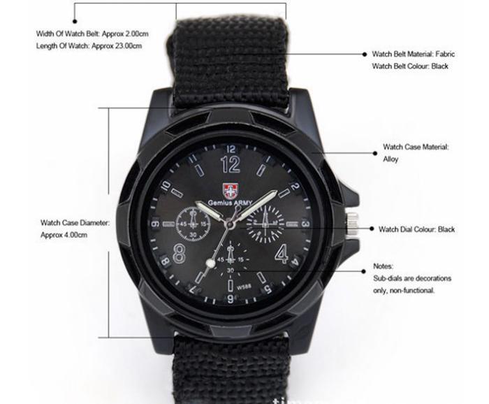 L'orologio svizzero dell'esercito di Gemius degli uomini verdi neri di modo, uomini dell'esercito di sport dell'esercito pilota pilota guarda caldo Vendita calda