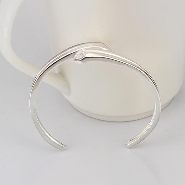 Braccialetto a forma di cuore di alta qualità 925 placcato argento strass di cristallo dei braccialetti di modo regalo di compleanno di trasporto libero la donna