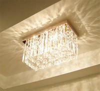 sala de estar art deco da forma moderna venda por atacado-Moda Moderna De Vidro Lustres De Cristal K9 Retângulo De Cristal Luz de Teto Sala de estar Corredor Quarto Lustre Lâmpada Do Teto Luzes
