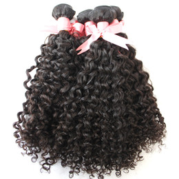 Großhandel Greatremy® 8A 3pcs / lot tiefes lockiges Haar-Schussgewebe 100% brasilianische peruanische malaysische indische Jungfrau unverarbeitete menschliche Haar-Erweiterungen