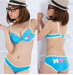 f8bce77fc4 Japanese cartoon cute girl student leisure candy colored thin underwear bra  set multicolor small chest