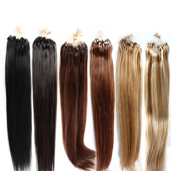 Color #1#2#4#27#613 Available 100% Brazilian Micro Ring Loop Hair Extensions 100g/Pack Silky Straight Black Brown Blonde More Color Hair