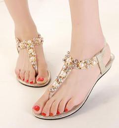 Pérolas baratas pérolas on-line-Sandálias de strass boêmio pérola de cristal frisado sandálias de salto plano chinelos mulheres sandálias de praia barato ouro preto EU40 ePacket