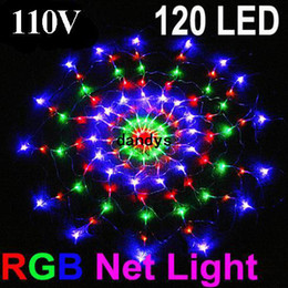 Rgb led net lights en Ligne-Chaîne colorée RGB LED lumière nette 110V avec 120 led Wedding Party de Noël led éclairage décoration bande dandys