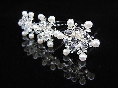 New Fashion Snowflake Crystal Pearl casamento Bridal cabelo Prom Pinos menina Grampos