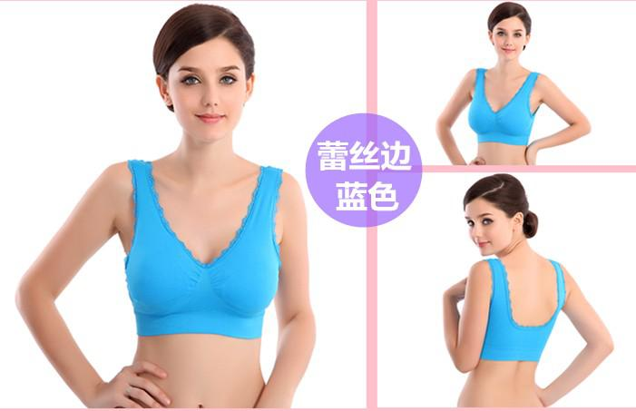 Seamless underwear thin section no rims sports bra lace vest large size ladies underwear declining gather Sports Bra (S-XXXL)
