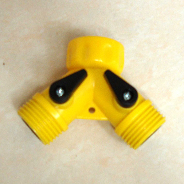 top popular garden hose fitting two ways valve Y adaptor tap On Off Valve Garden Splitter Irrigatio quick coupling faucet connector yellow free shipping 2019