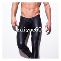 Wholesale Mens Leather Trouser - 1pcs mens N2N brand long pants tight fashion hot black Faux leather sexy boxer underwear sexy panties trousers wholesale