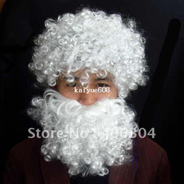 Wholesale Wholesale White Wigs - Free Shipping ,10sets lot ,Christmas X man's white wig and beard santa claus hair,moustache,christmas gift
