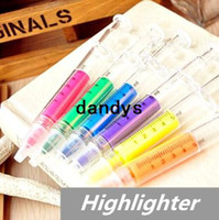 Wholesale Fluorescent Markers - 60 pcs Lot syringe Highlighter pen Fluorescent Marker Luminescent pen Stationery Office School supplies 6251, dandys