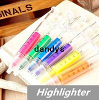 ingrosso evidenziatori della siringa-60 pz / lotto siringa evidenziatore penna marcatore fluorescente penna luminescente cancelleria ufficio scolastico forniture 6251, dandys