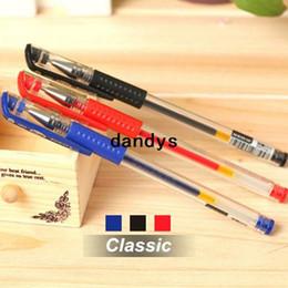 Wholesale Calligraphy Gel Pen - 60 pcs Lot Wholesale Gel pen Classic design Black blue red bulk Stationery Caneta material Office school supplies 6289, dandys