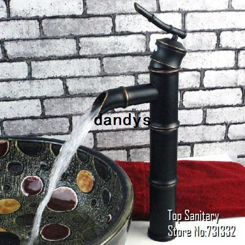 top popular Leaf handle 3 section Oil rubbed bronze Black Bathroom Bamboo basin Mixer faucet tap Lavabo cozinha torneira banheiro 2041-3, dandys 2019