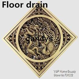 Wholesale Luxury Shower Accessories - 3 inch dragon & phoenix cover Luxury Antique copper Floor Drain Vintage Linear shower drain Filter bathroom accessories 9006-4, dandys
