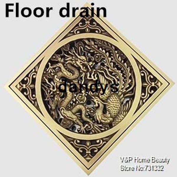 top popular 3 inch dragon & phoenix cover Luxury Antique copper Floor Drain Vintage Linear shower drain Filter bathroom accessories 9006-4, dandys 2021