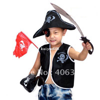 Wholesale Costume Knife - Free Shipping ,Children Pirate costume Set( waistcoat,Pirate hat, eyeshade, Earrings,eagle hook ,knife,and flag),party suppliers