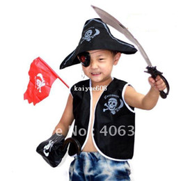 Wholesale Hat Pirates - Free Shipping ,Children Pirate costume Set( waistcoat,Pirate hat, eyeshade, Earrings,eagle hook ,knife,and flag),party suppliers