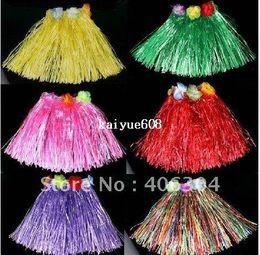 Wholesale Hula Skirt Costume - Free shipping 20pcs lot 40cm,Children Hawail Hula Skirt Hula costume  Grass Skirt  Flower Skirt  Hula dance ,many colours