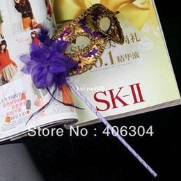 Wholesale Masquerade Masks Sticks - Free shipping ,masquerade masks on a stick ,party venetian mask with side flower ,