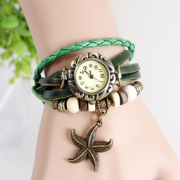 Wholesale Girl Hour - 2015 Vintage Victorian Style Starfish Leather Watch Hour genuine leather Cuff Bracelet Watch for ladies girls women GIFT 10PCS