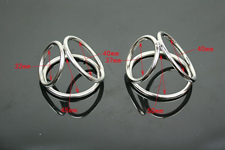 Männlicher Edelstahl Triple Cockring Penis Verzögerung Gonobolia Ring Werkzeug Gadget Keuschheitsgerät BDSM Fetisch Erwachsene Sexspielzeug Große kleine A511