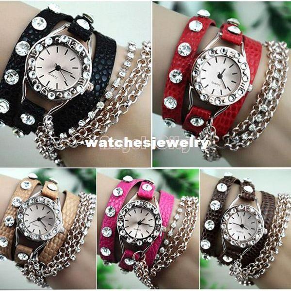 Cheap Price Synthetic Leather Woman Dress Watch Rhinestone Watch Silver Sling Chain Quartz Wrist Watch 19223 b003