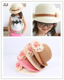 Wholesale korea sweet girls - Korea Fashion Summer Girls Lovely Lace Flowers Staw Hats Sweet Kids Girl Tunrup Design Beautiful Beach Sun Caps Knit Hat 12pcs lot H0483