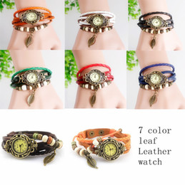Wholesale Knitted Leather Watch - Genuine Leather Hand Knit Vintage Watches Leaf Pendant Weave Wrap Around Leather Bracelet Bangle Womens Tree Leaf Green Girl Watch