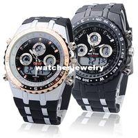 Wholesale backlight stopwatch - Digital Analog Waterproof Sport Dual Time Watch With Stopwatch Week Alarm Calendar EL Backlight Bistec