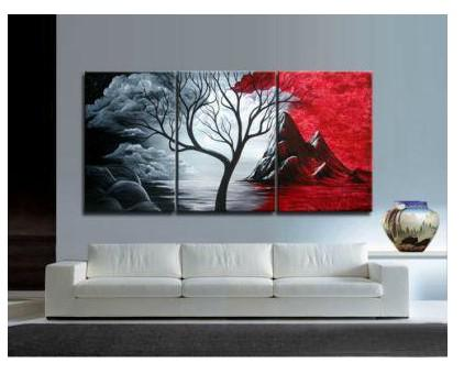 Free shipping,100%hand-painted oil wall art The Red passion Abstract oil-paintings on canvas 3pcs/set Framed #001