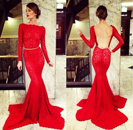 Wholesale Dresses Clover - 2015 Michael Costello Red Long Sleeve Evening Gowns Bateau Neck Backless Mermaid Clover Court Train Lace Celebrity Gown Prom Dresses