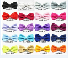 Wholesale Pre Tied Bows Wholesale - New Mens Pure Plain Bowtie Polyester Pre Tied Wedding Bow Tie silk tie black and white necktie silk jacquard woven tie