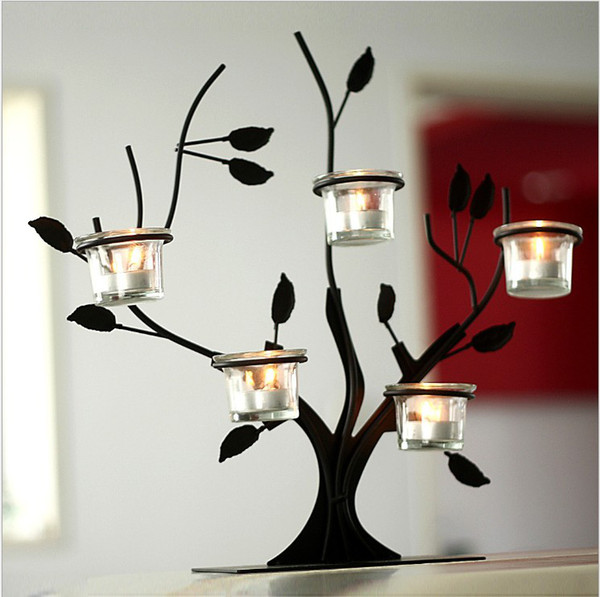 Pastoral Style Tree Branches Iron Candelabra of European Bar Table Ornaments Candle Holder In Glass For Home Decor Wedding Decoration