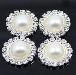 ¡¡Valores!! 100 unids / lote 19mm botón redondo del Rhinestone del metal con el centro de la perla adorno de la boda DIY accesorio precio de fábrica