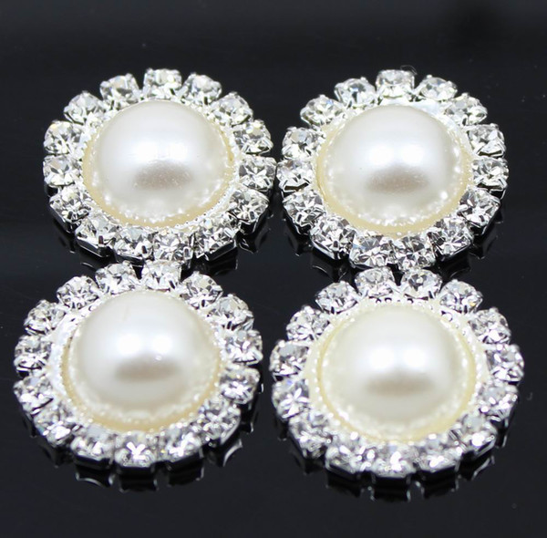 Stock!! 100pcs/lot 19mm Round Metal Rhinestone Button With Pearl Center Wedding Embellishment DIY Accessory Factory Price