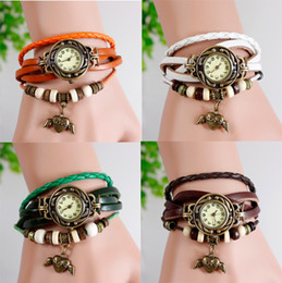 Wholesale Bronze Items - 20PCS Vintage Bronze watch for women Angel Heart hours Hollow carved item Ladies Leather Hand-woven bracelet Watch free shipping