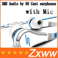 Wholesale Sms Wired Ear Box - wholesale Mini SMS Audio by 50 Cent In-Ear earphones with Mic microphone 50Cent Street headphones Black White red With Box free shipping